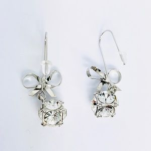 New! Silver Bow Know Crystals Ball Dangle Earrings